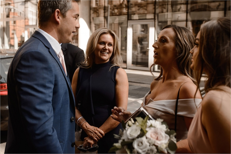 Wedding Guests arriving at King Street Townhouse for Dionne and Tony's wedding