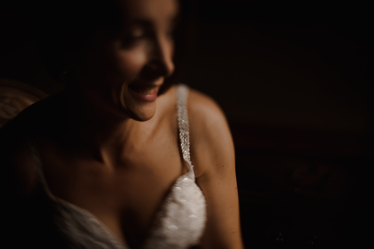Close up photograph of Bride on the morning of her wedding