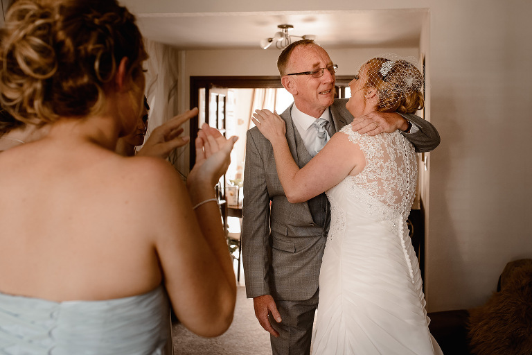 Bride's dad becomes emotional at seeing the Bride in her dress before her Manchester wedding