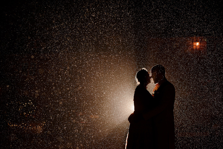 Bride and Groom in the Manchester rain